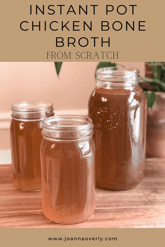 instant pot chicken bone broth in mason jars