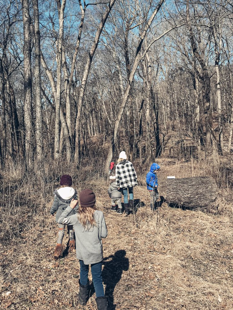 children exploring nature outdoors with our co op