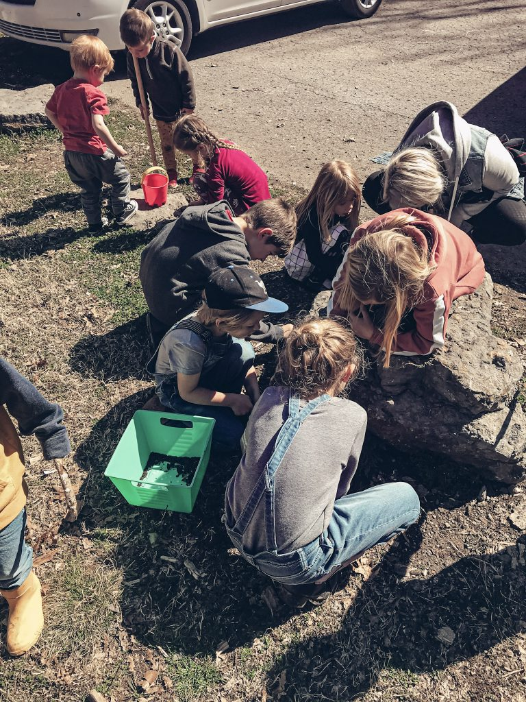 kids digging for worms outside at our homeschool nature group outside