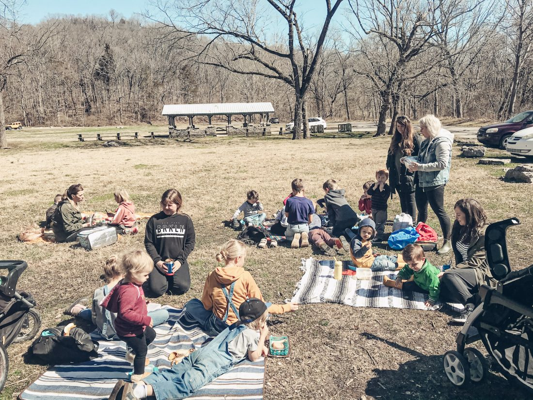nature co op families spread out on blankets in the grass