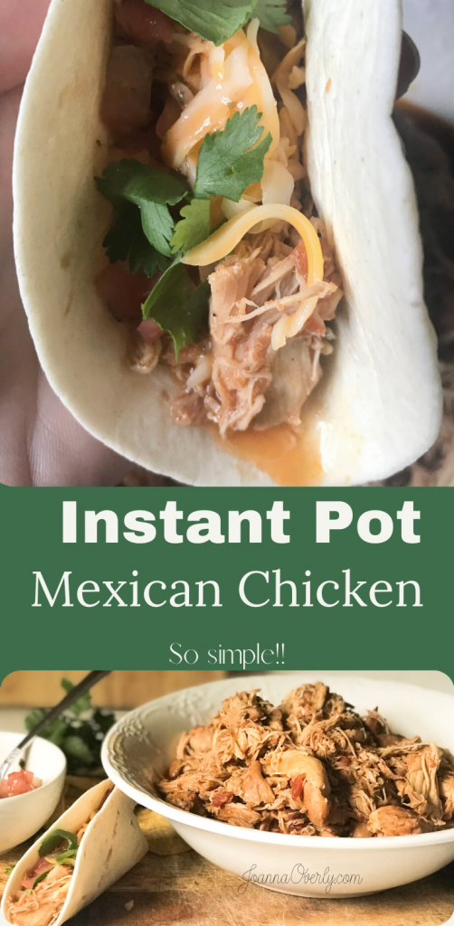 Mexican Shredded Chicken super simple in bowl on wood cutting board