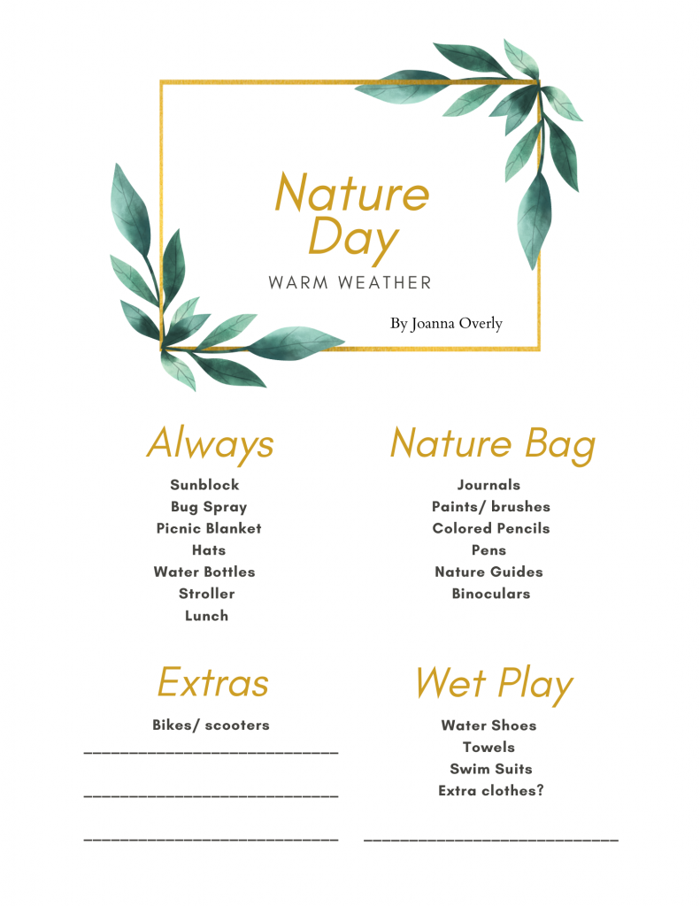 Warm weather nature day free printable