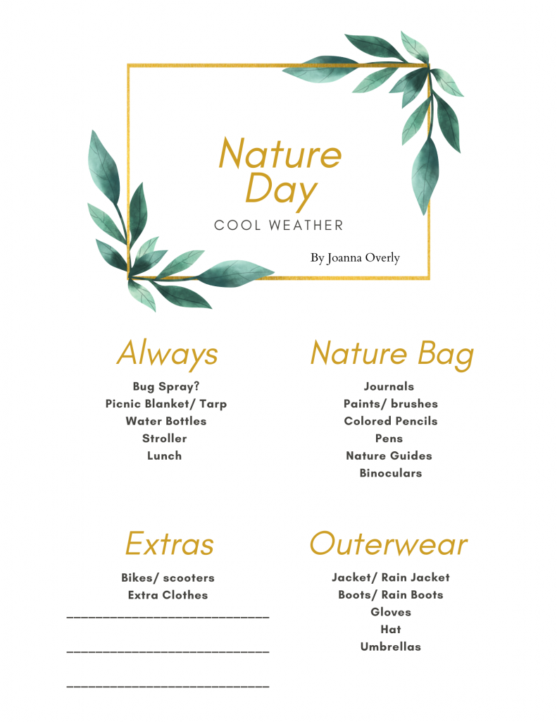 Cool weather nature day free printable