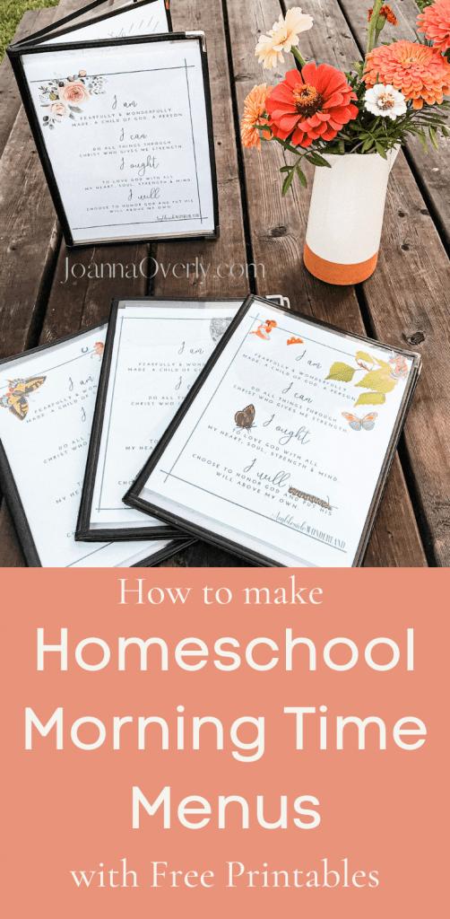 homeschool morning time menu pinable