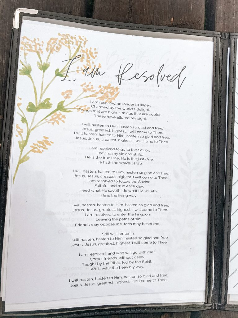 hymns in morning time menus