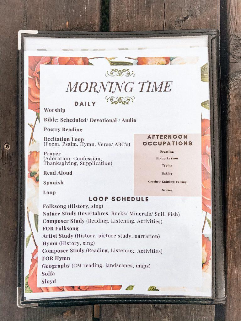 floral sheet describing our morning time