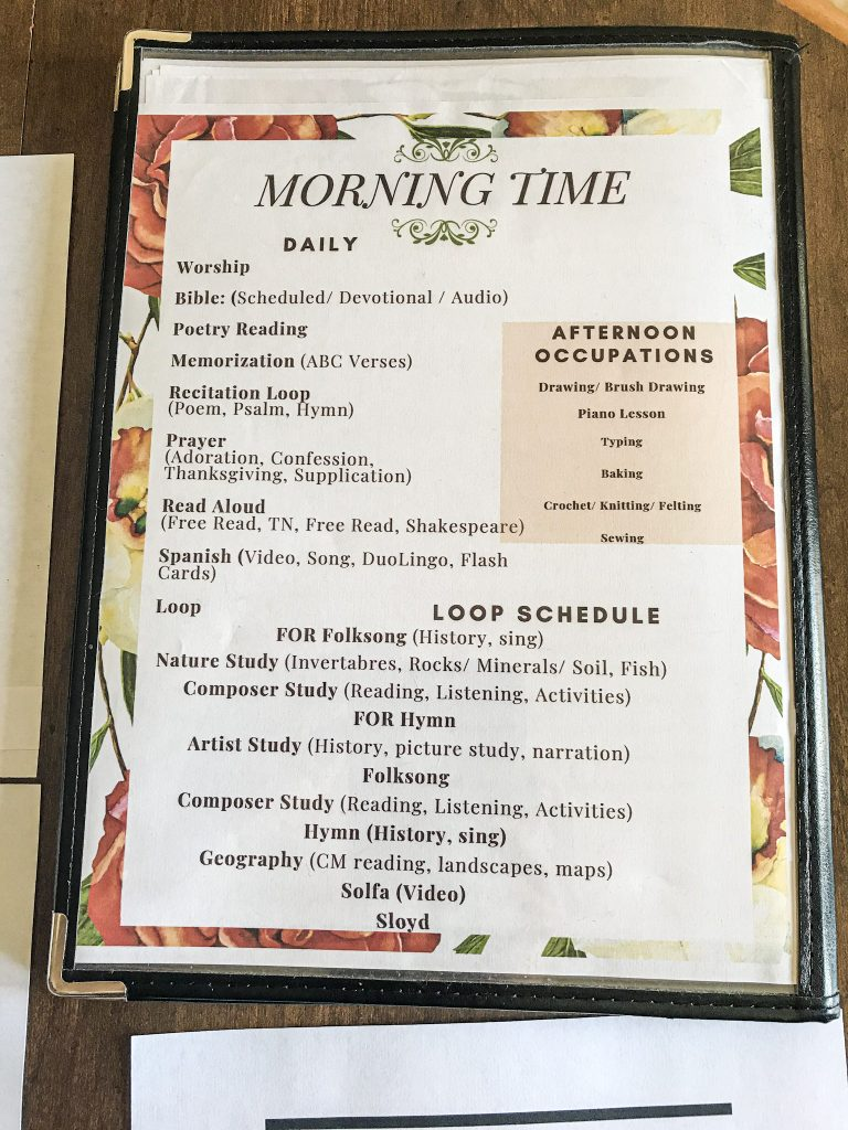 schedule page inside of a morning time menu