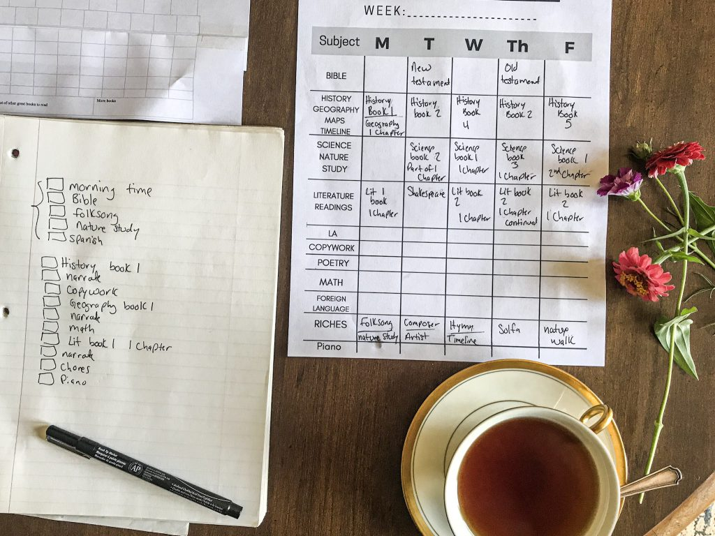 tea cup filled with tea, flowers and Ambleside Online schedules laying on table