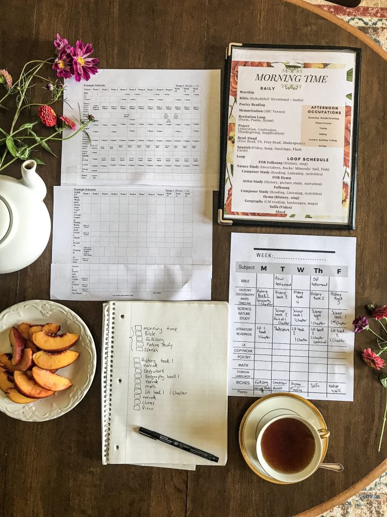 flat lay on table top with flowers, tea pot, tea cup and Ambleside Online schedules
