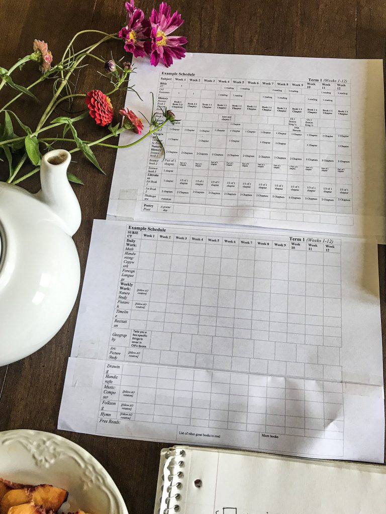 term schedule for AO with flowers and white tea pot